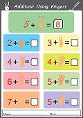 addition using fingers, math worksheet for children