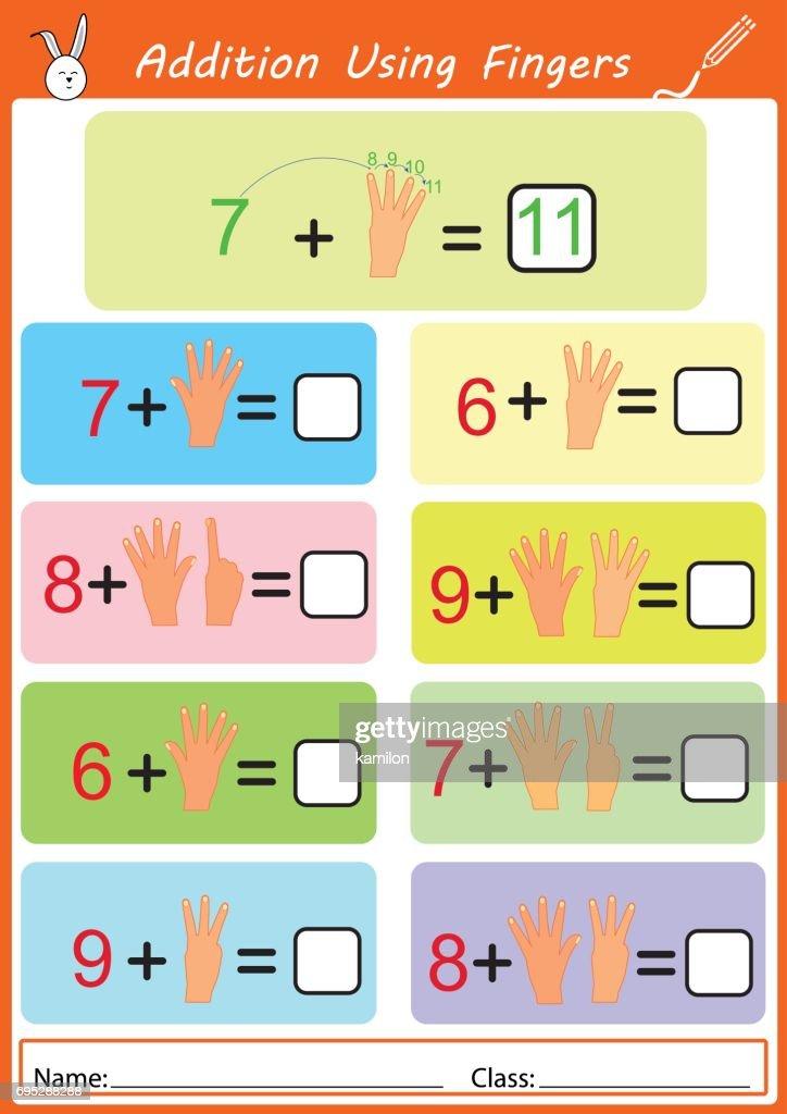 Addition Mit Fingern Mathe Arbeitsblatt Für Kinder Vektorgrafik ...
