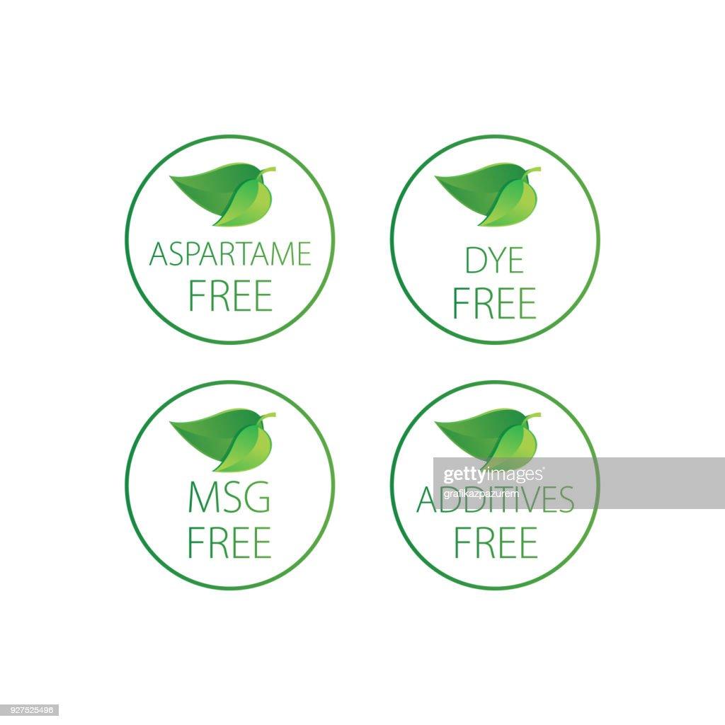 additives, Dye, Aspartame, MSG  - vector illustration.