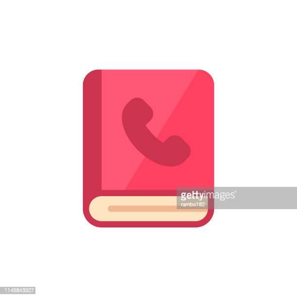 adressbuch flat icon. pixel perfect. für mobile und web. - adressbuch stock-grafiken, -clipart, -cartoons und -symbole