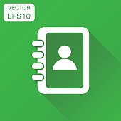Address book icon. Business concept contact note pictogram. Vector illustration on green background with long shadow.
