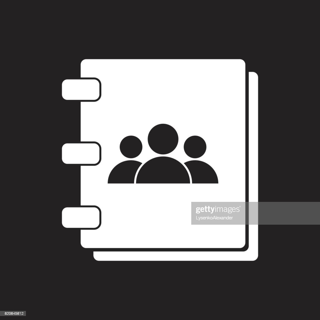 Address book icon. Contact note flat vector illustration on black background.