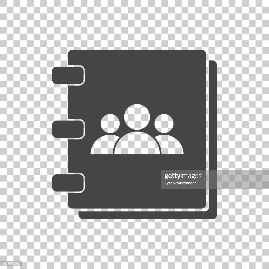 Address book icon. Contact note flat vector illustration on isolated background.