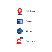 Address, date, time contact icons vector illustration