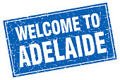 Adelaide blue square grunge welcome to stamp