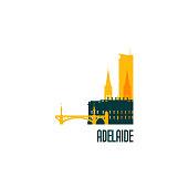 Adelaide city emblem. Colorful buildings. Vector illustration.