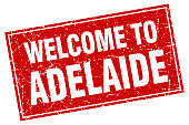 Adelaide red square grunge welcome to stamp