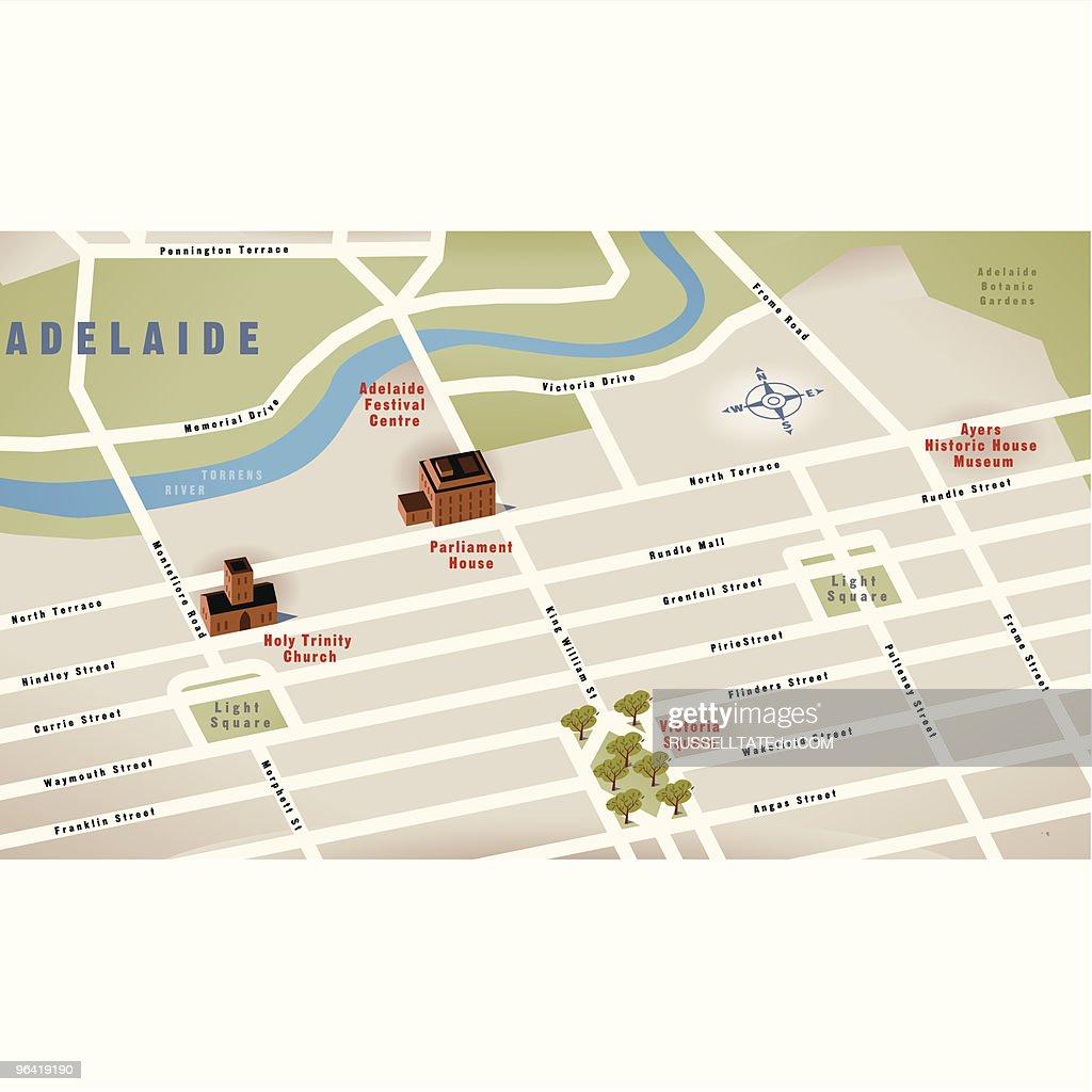 Adelaide Sa Australia Map Vector Art Getty Images