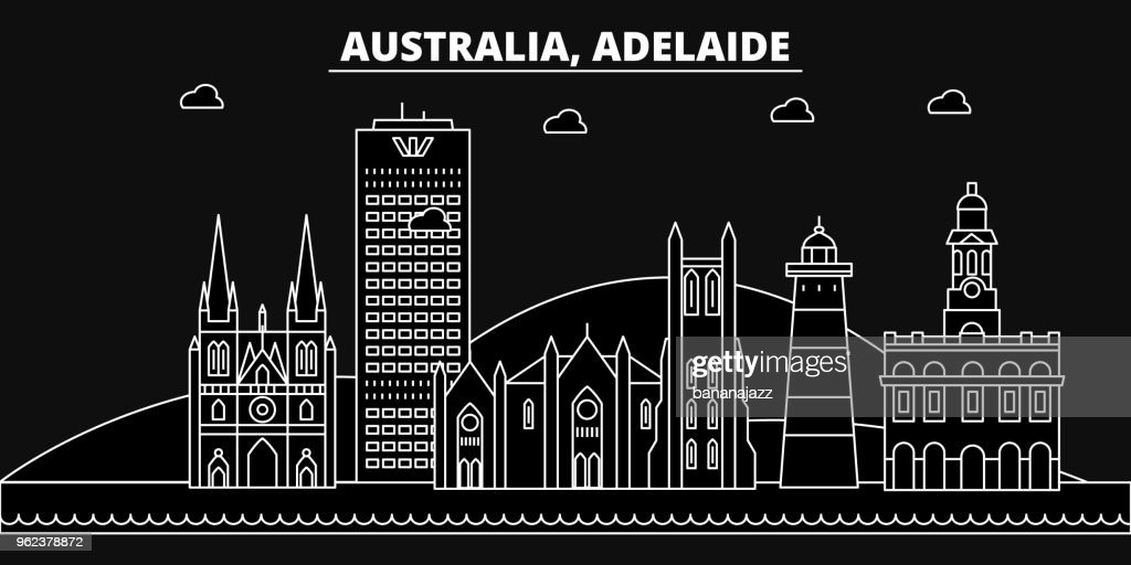 Adelaide silhouette skyline. Australia - Adelaide vector city, australian linear architecture, buildings. Adelaide travel illustration, outline landmarks. Australia flat icon, australian line banner