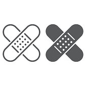 Adhesive plaster line and glyph icon, emergency and medicine, patch sign, vector graphics, a linear pattern on a white background, eps 10.