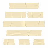 Adhesive tape. Set of realistic sticky tape stripes isolated on white background
