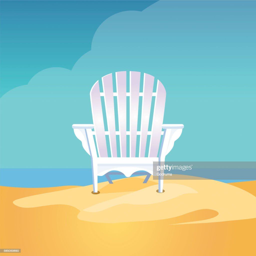 Adirondack chair on the sea beach standing on yellow sand