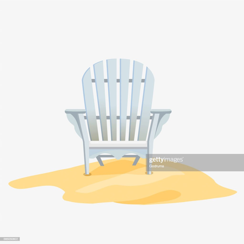 Adirondack chair standing on the yellow sand