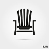Adirondack chair vector icon