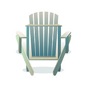 Adirondack wooden chair from the back