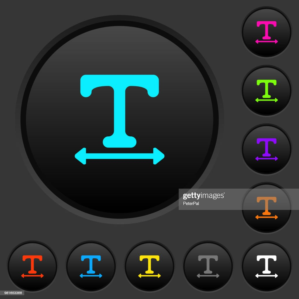 Adjust font width dark push buttons with color icons