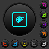 Adjust object color dark push buttons with color icons