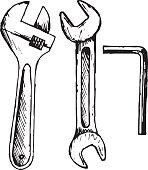 Adjustable wrench, spanner