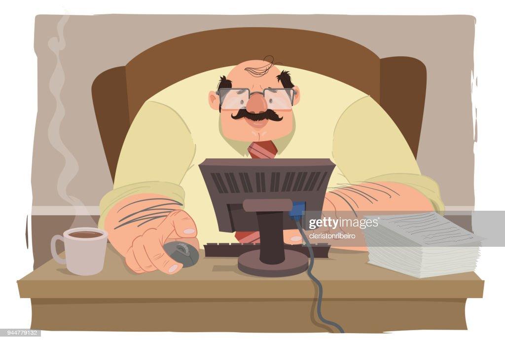 O administrador (trabalhando) : Stock Illustration