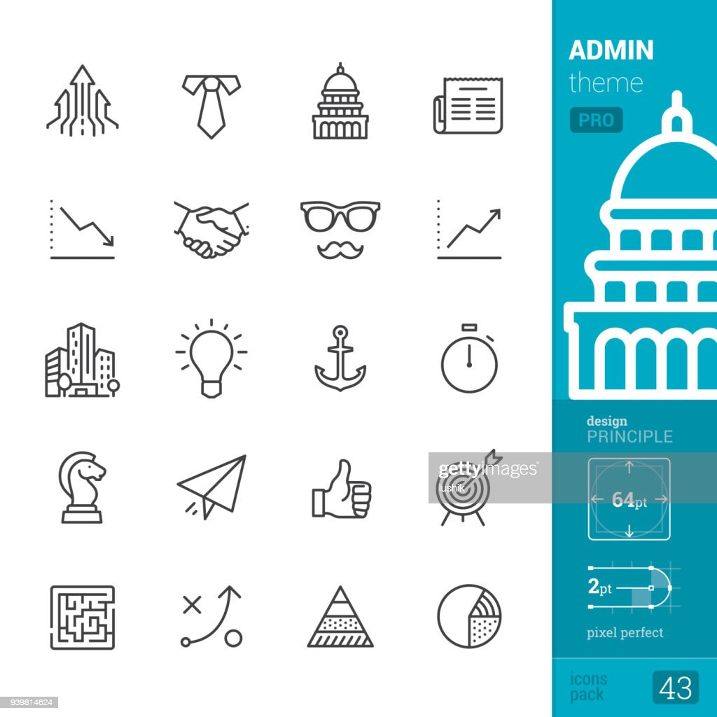 Administration, outline icons - PRO pack