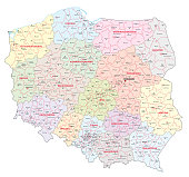 Administrative and political map of Poland