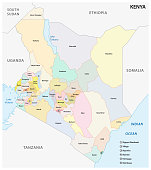 Administrative and political map of the Republic of Kenya