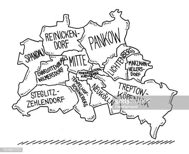 administrative city map of berlin drawing - spandau stock illustrations
