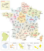 Administrative map of the 13 regions of France and overseas territories
