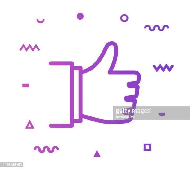 admiration line style icon design - thumb stock illustrations