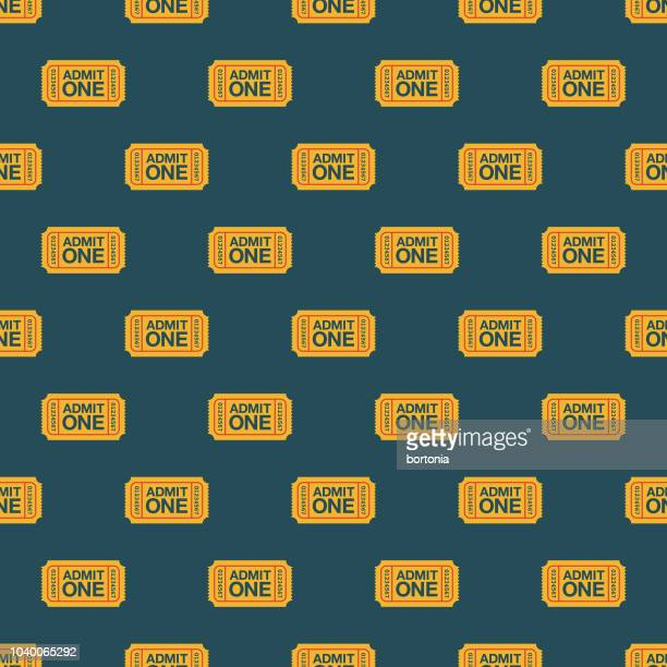 admission ticket seamless pattern - theater industry stock illustrations, clip art, cartoons, & icons