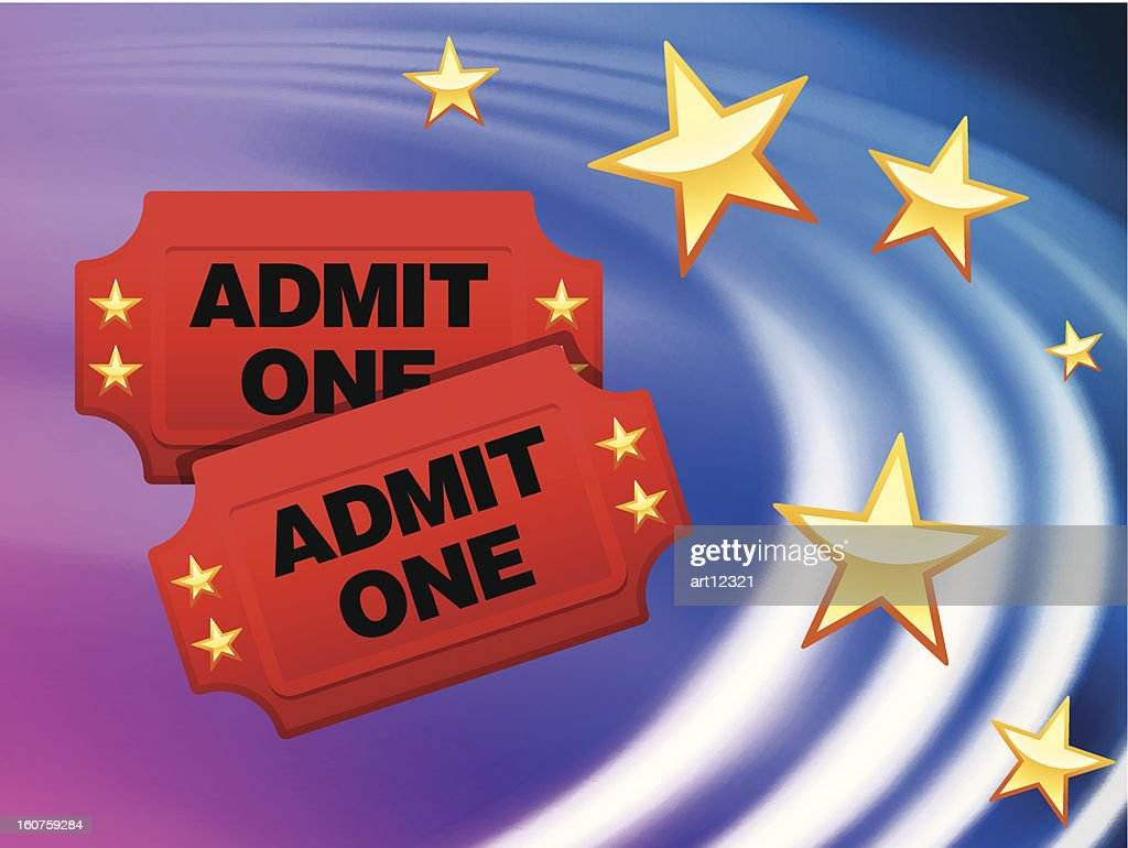 Admission Tickets on Abstract Wave Background