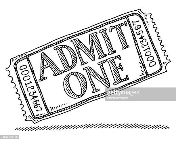 admit one admission ticket drawing - ticket stock illustrations, clip art, cartoons, & icons