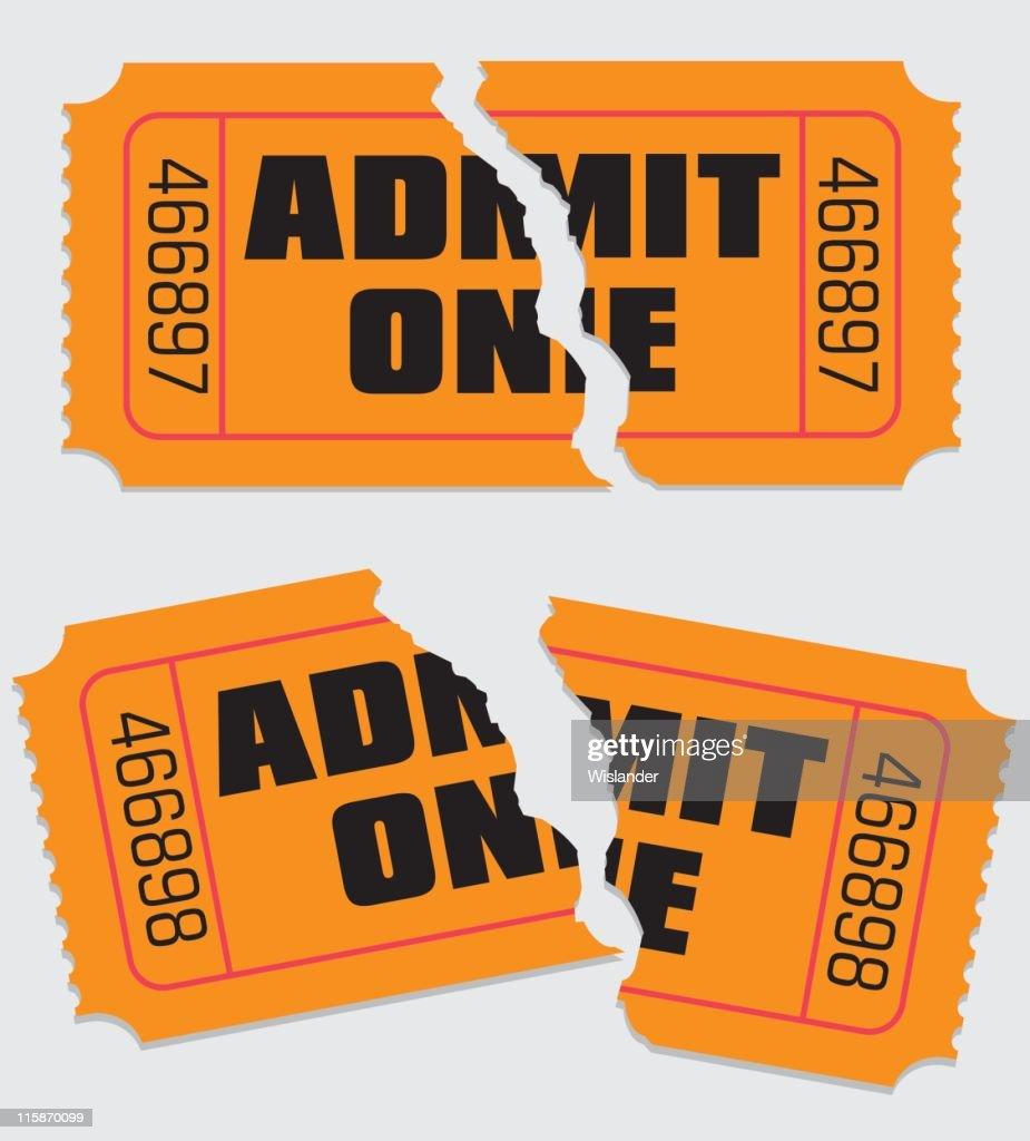 Admit One Ticket Torn
