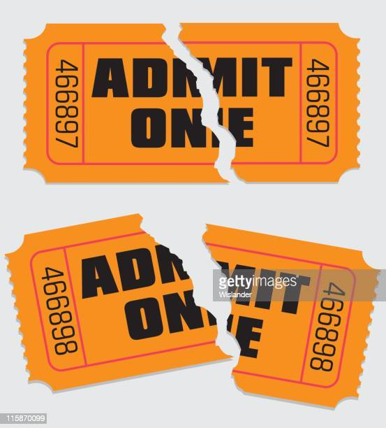 admit one ticket torn - ticket stock illustrations, clip art, cartoons, & icons