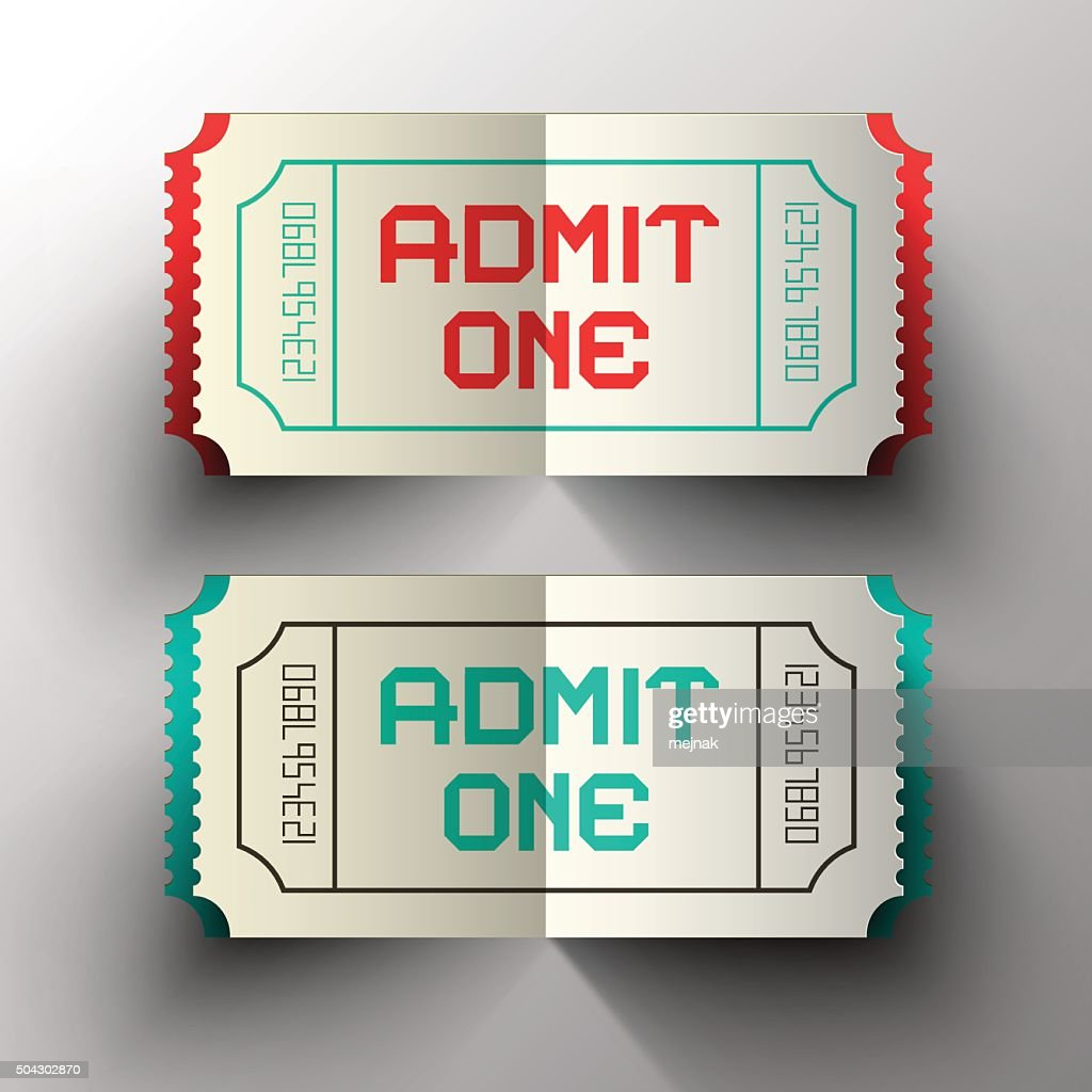 Admit One Tickets Paper Cut Illustration