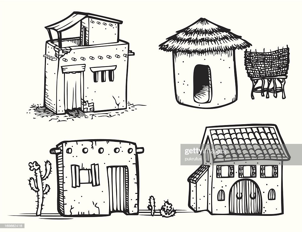 Adobe Houses - Line Art