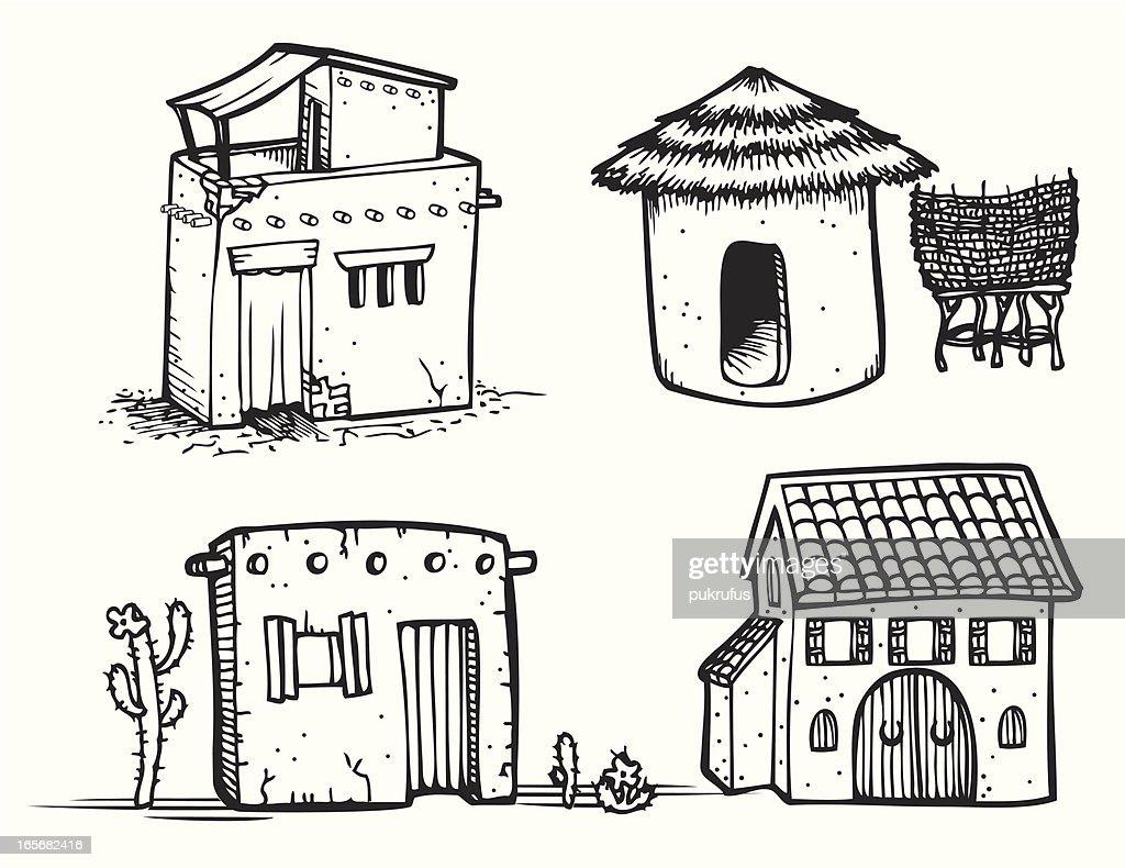 Adobe Houses - Line Art