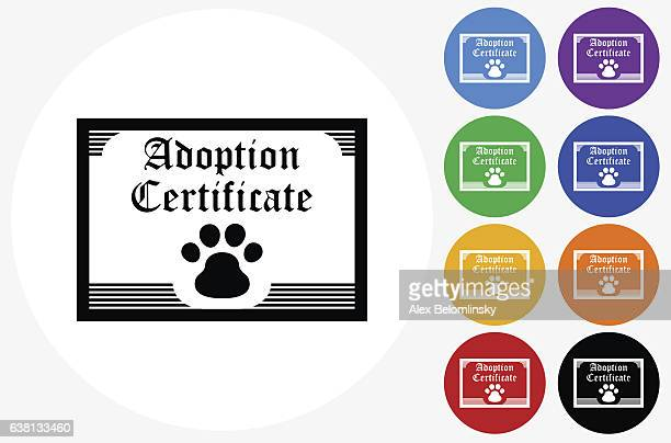 Adoption Papers Icon on Flat Color Circle Buttons