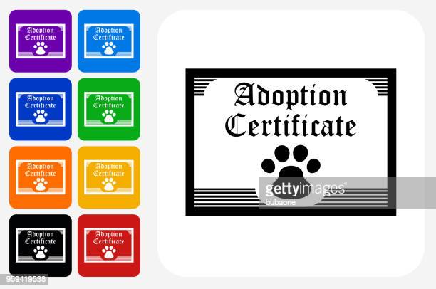 Adoption Papers Icon Square Button Set