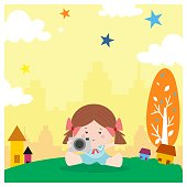 adorable and cute little girls playing photography with her camera in the afternoon, cartoon character
