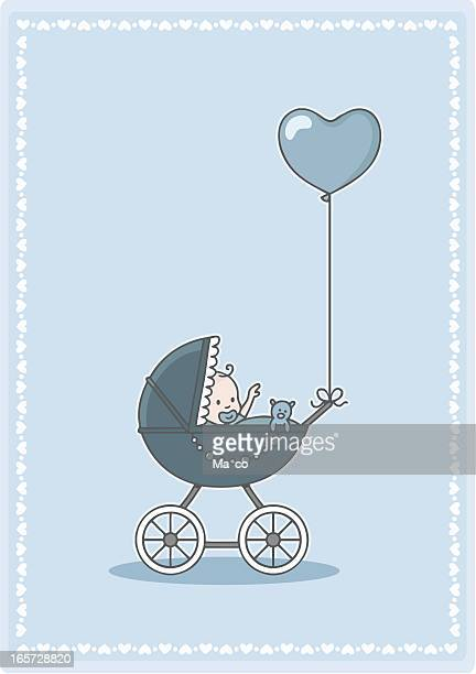 adorable baby boy in the stroller with heart balloon - baby carriage stock illustrations