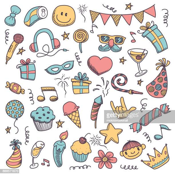 adorable doodle party icon set - party blower stock illustrations