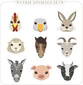adorable farm animals set