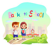 Adorable happy cartoon kids going to school. Colorful ,sunny background with school building and city landscape.