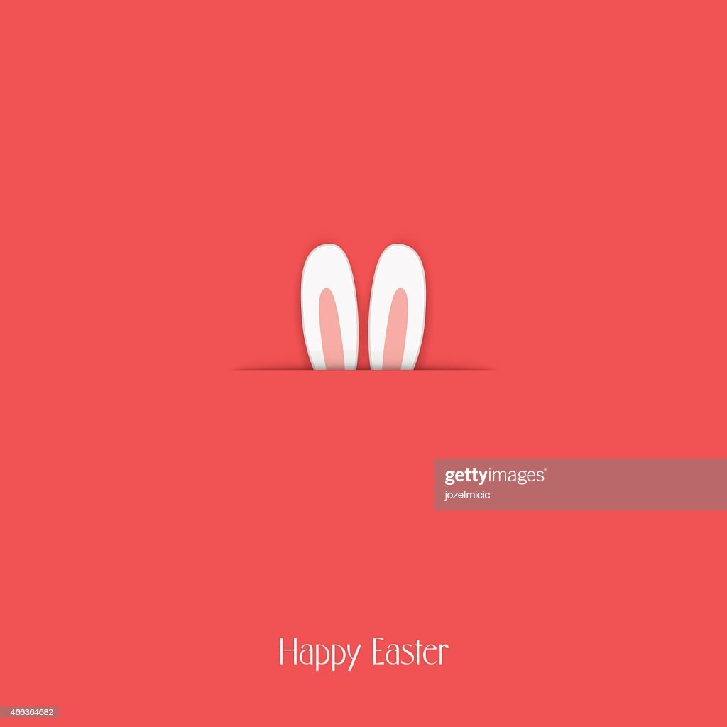 Adorable Happy Easter postcard template with bunny hiding and ears