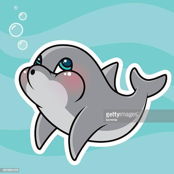 Adorable Kawaii Dolphin Character