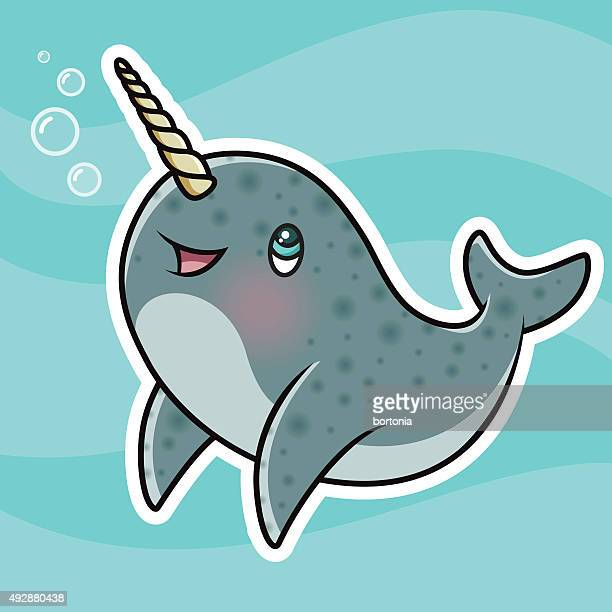 adorable kawaii narwhal character blowing bubbles - unicorn horn stock illustrations, clip art, cartoons, & icons
