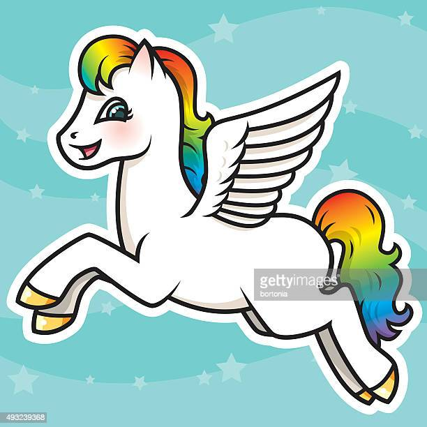 adorable kawaii rainbow pegasus character - pegasus stock illustrations, clip art, cartoons, & icons