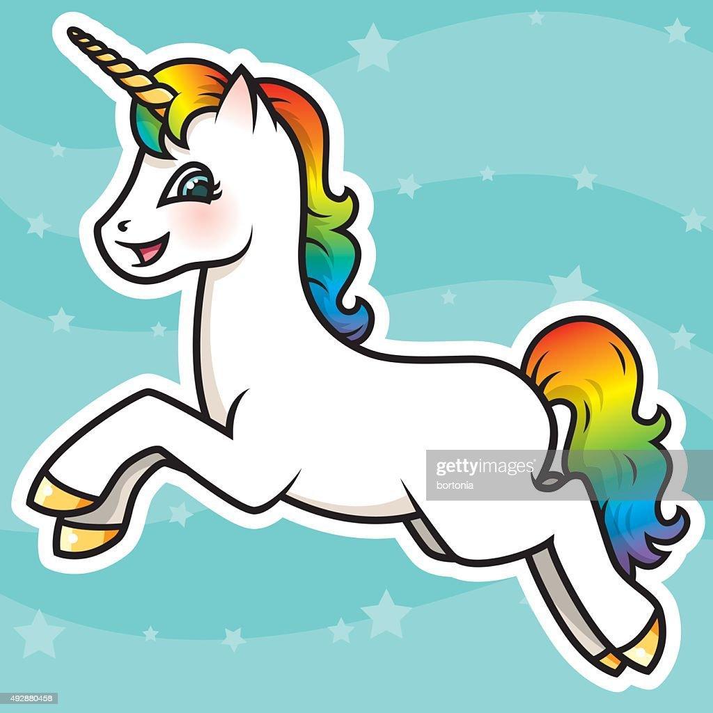 Adorable Kawaii Rainbow Unicorn Character : stock illustration