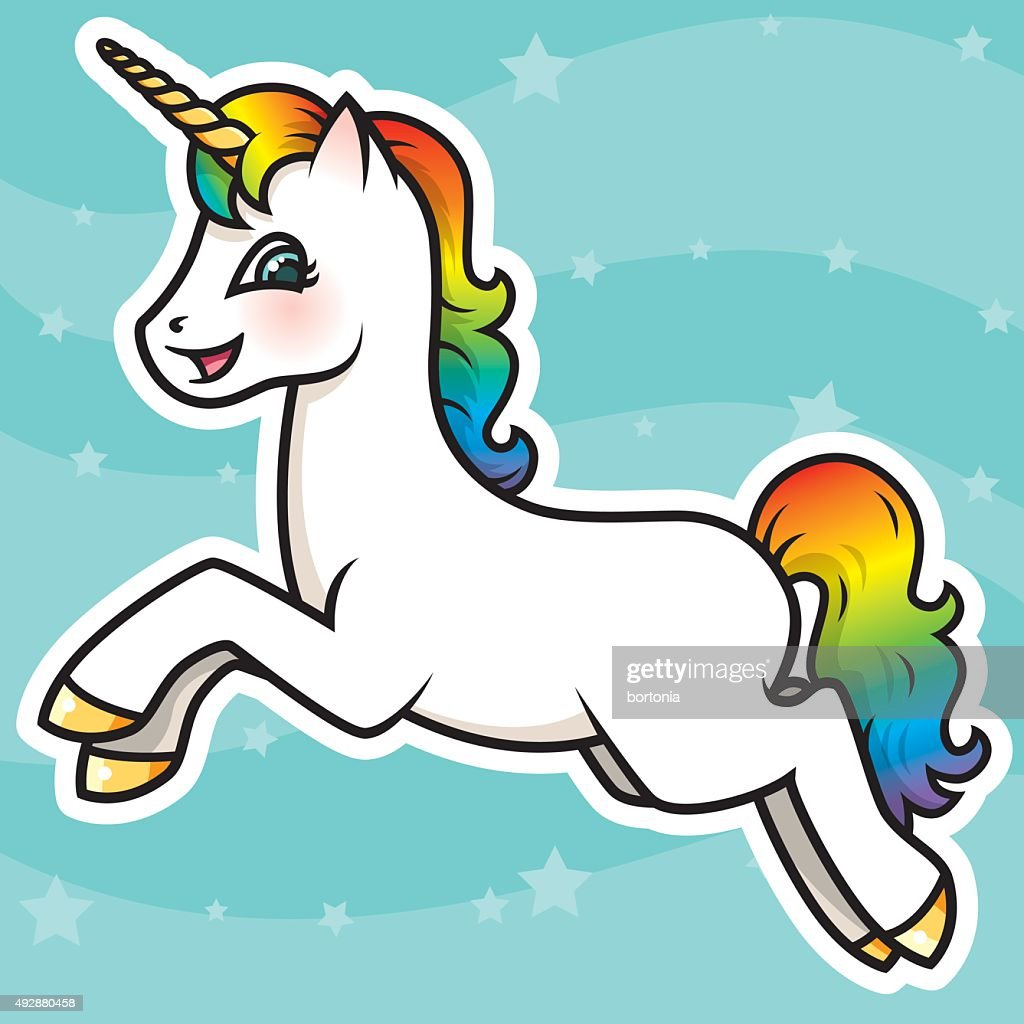 Adorable Kawaii Rainbow Unicorn Character